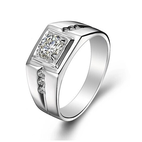 925 Sterling Silver CZ Diamond Ring for Men Vintage Jewelry Crystal Anel Masculino Joias Engagement Wedding Rings 2015 J473(China (Mainland))