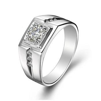 925 чистое серебро CZ алмаз кольцо для мужчины винтажный ювелирные изделия кристалл ...