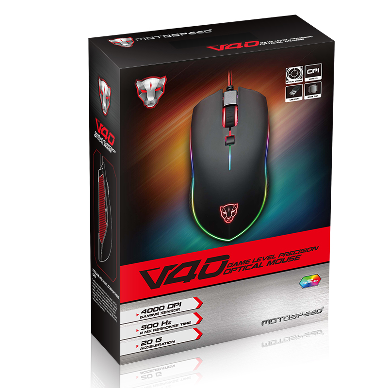 Motospeed V40 USB Wired Gaming Mouse 6 Button Optical RGB LED Lights Mouse Gamer 4000 DPI For PC Laptop Desktop Computer Game