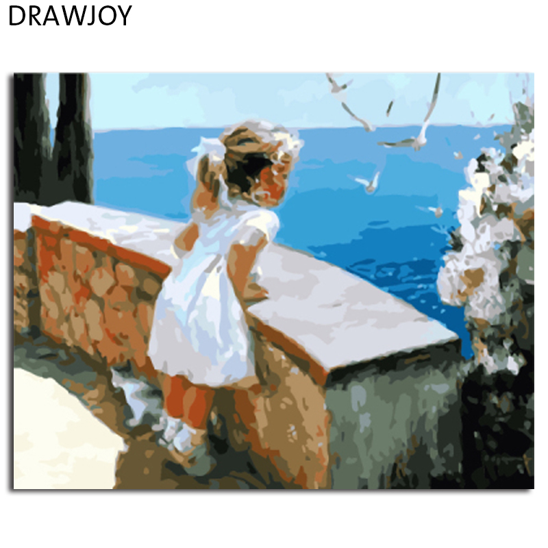 DRAWJOY Framed Wall Art Pictures Painting By Numbers Of Little Girl DIY Canvas Oil Painting Home Decor For Living Room GX8102(China (Mainland))