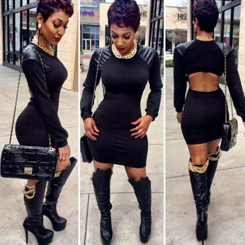 2016 Womens Sexy Dresses Party Night Club Dress Long Sleeve Black PU Leather Patchwork Mini Bodycon Vestido S-XL - shu fen xie store