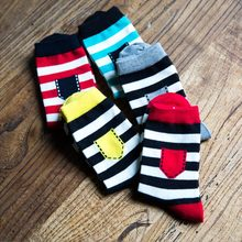 kawaii funny happy socks for men cotton boys striped & pocket style simple colors splice man's socks medium long socks 1 pair
