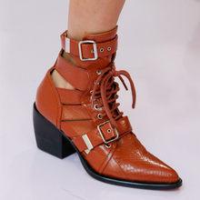 MStacchi Marka Tasarım Yılan Cilt Hakiki Deri Çizmeler Kadın Sivri Burun Yüksek Topuklu yarım çizmeler Toka Lace Up Kadın Botları(China)