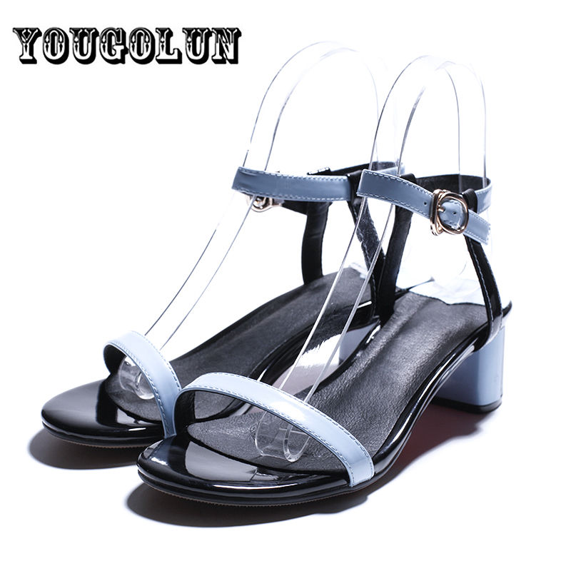 2016 summer blue apricot white open toe fashion womens sandals high heels party shoes women cow genuine leather ladies sandal