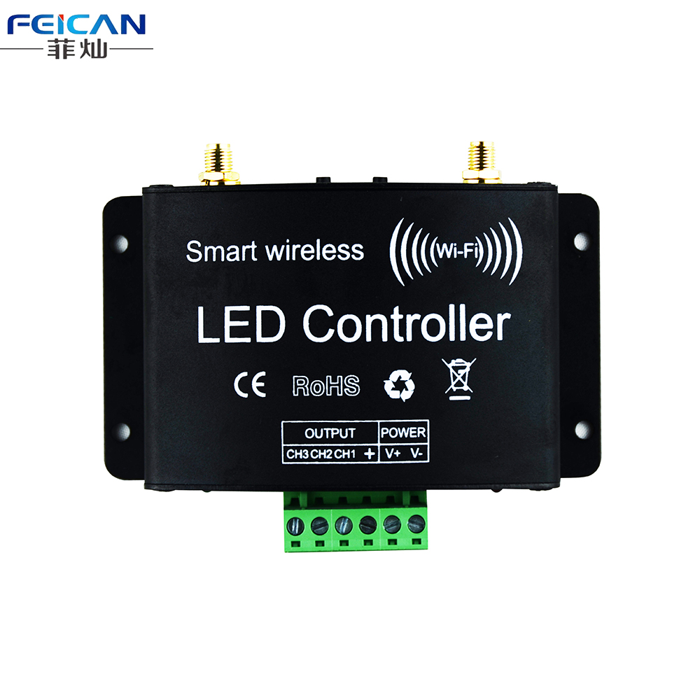 Wifi RGB LED Controller DC12-24V +RF Touch Remote Control Controller By Android/IOS APP Control For SMD5050 3528 RGB LED Strip(China (Mainland))