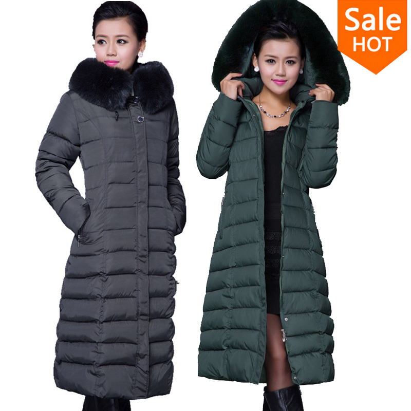 Winter Jacket Women 2015 Coat X-long Plus Size 5XL Long Parka Luxury Fur Cotton-Padded Coats Wadded Jackets