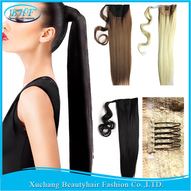 Unprocessed Natural Human Hair Ponytail Extension 100g BHF Full Ponytail Wig Brazilian Hair Clip Ponytail Human Hair