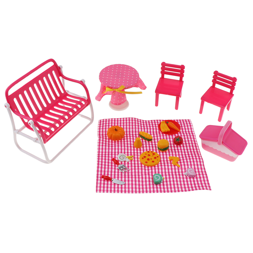 Fashion Doll Accessories Plastic Furniture Kids Toys Play House Picnic Food Set with Accessory for 1/6 Dollhouse Miniature