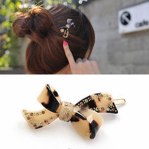 Imports high-grade leopard frogclip bow Bang clip hairpin rhinestone-encrusted hair headwear DALLO barrettes - Yifeijewelry store