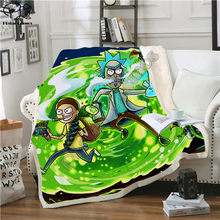 Plstar Cosmos Cartoon Rick and Morty funny character Blanket 3D print Sherpa Blanket on Bed Home Textiles Dreamlike style-9(China)