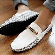 2014 casual Comfy PU Leather Slip On  Loafer Shoes for Men Korean Style breathable Splice men's shoes(China (Mainland))