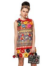 2016 Runway Fashion Designer Dress Women's High Quality Fuzzy Ball Luxury Diamonds Beading Baroque Printed Embossed Dress(China (Mainland))