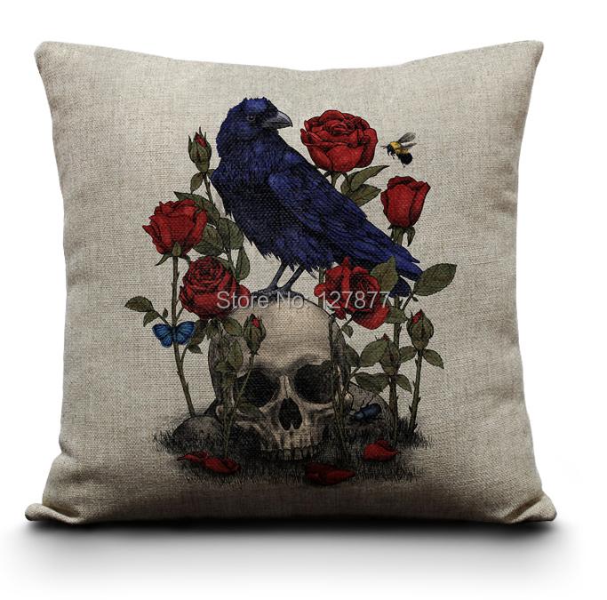 Free shipping Death Rose Sofa Pillow Cotton Linen Vintage Decorative Pillows Skull Decorative ...