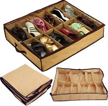 12 Cells Tidy Under Bed Fabric Shoe Storage Organizer Holder Box Closet Bag Case Household travel essential supplies.(China (Mainland))