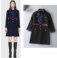 European Fashion England Style Woolen Coat Ladies Turn Down Bow Collar Single Breasted Overcoat Winter Outerwear