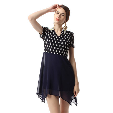 2015 new style lady Peter pan Collar printed euramerican lace dress short sleeves summer t0278 - The silk road Online Store 519062 store