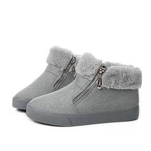 Phụ nữ giày mùa đông phụ nữ của mắt cá chân khởi động new 3 màu thời trang casual thời trang flat người phụ nữ dịu tuyết khởi động miễn phí vận chuyển(China)
