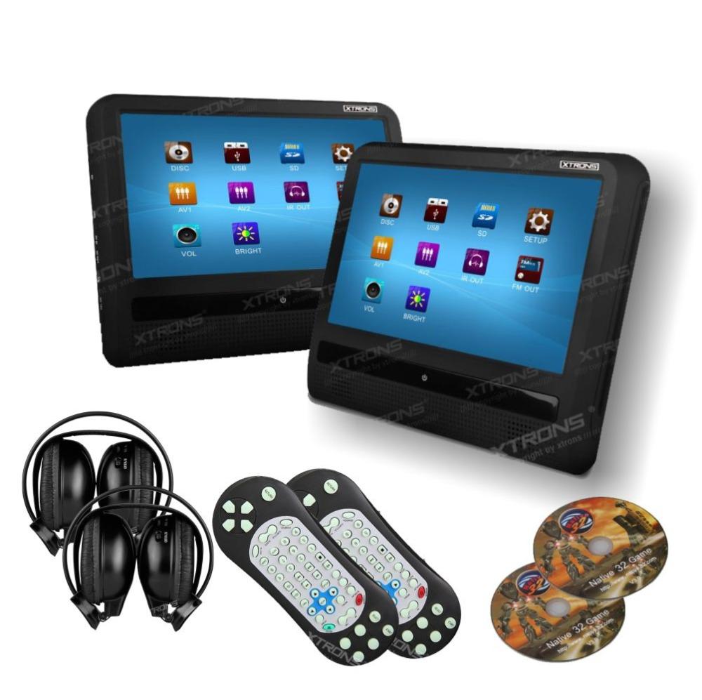 "2 pieces/lot 9"" HD Touch Screen Car Headrest DVD Player 800x480 Game/DVD/USB/SD/IR car headrest monitor + two Black IR Headrest(China (Mainland))"