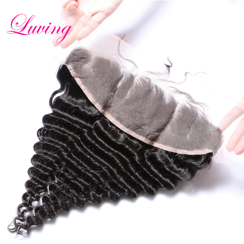 7A Grade Lace Frontals 13x4 Brazilian Hair Deep Wave Full Lace Frontal Closure With Baby Hair From Ear to Ear Silk Top Frontal(China (Mainland))