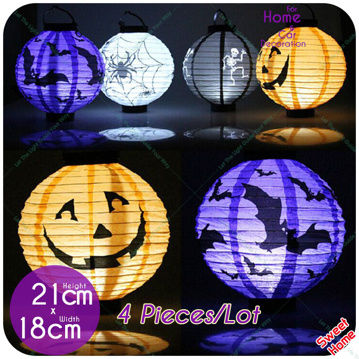 4 Pcs Halloween Paper Lantern Pumpkin Spider Bat Light 7 Pictures Hanging Lamp Props Home Bar Outdoor Party Supply Decoration(China (Mainland))