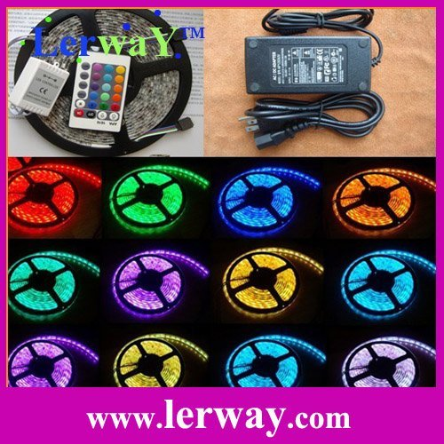 16.4Ft Colorful Led Flexble Strip RGB Waterproof 300 SMD 5050+Controller + Power