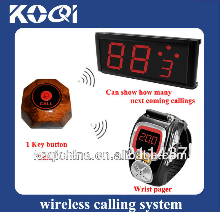 Wireless Paging System Service(full set including 1receiver + 1 wrist watch +1 button)(China (Mainland))