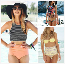 Sexy High Waisted Streped Women Bikini Sport Tank Top high waist Brazilian Bottom Vintage Swimwear Swimsuit Asian Size M L XL