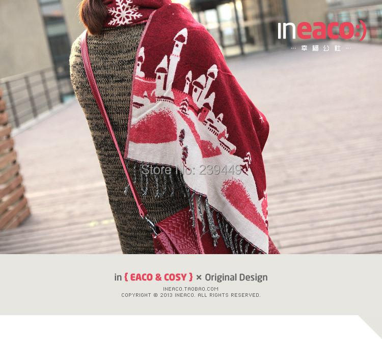 Wholesale 100pcs 5 Colors Hot KPOP Exo luhan Christmas Castle snowflake knit scarf / muffler Xmas Gift Free Shipping By DHL(China (Mainland))