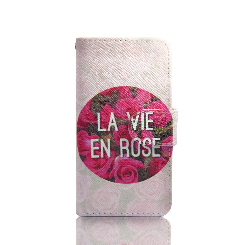 ZeWoo Folio PU Leather Case - P111 / la vie en rose - for Apple iPhone 5 5S  Wallet Cover(China (Mainland))