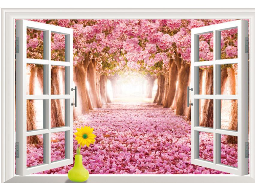 3D Creative beautiful floral cherry blossoms tree landscape living room window wallpaper waterproof wall sticker home decor * - Shanghai Paradise decoration store
