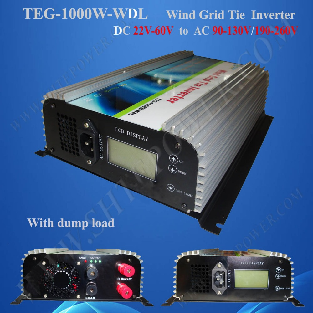 DC 22-60V to AC 110V/120V/220V/230V/240V Wind Tie Grid Inverter 1000W with LCD and Dump Load(China (Mainland))