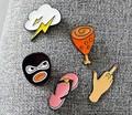 Harajuku Japan Korea Personality Chicken legs Robber Slipper Lightning Cute Figurative Badge PIN Brooch DIY Clothing