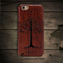 LOTR White Tree of Gondor High Quality Pear Wood Phone Case Cover For iphone6 Hard Back Cover Case Protector For iphone 6s plus