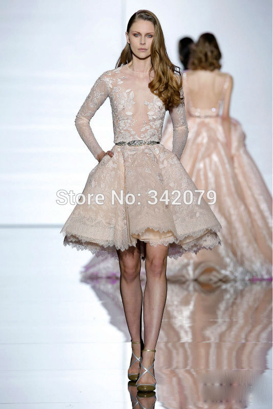 Ph15428 lace embroidered guipures flowers long sleeved for Short flared wedding dress