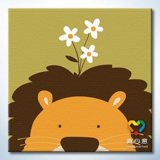 Colored drawing diy digital oil painting - lion 20 belt in frame