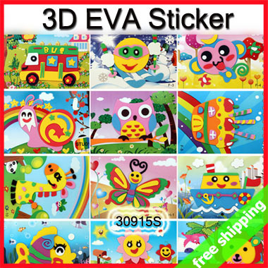 FREE SHIPPING 3D EVA Foam Puzzle Sticker DIY Handmade Self-adhesive Crafts Toys Learning Education Prize SayHi 20pack/lot 30915S(China (Mainland))