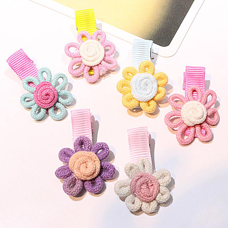 M MISM New Girls Lovely Hairpins Sunflower Knitted Flora Barrettes Hair Ornaments Mini Flower Delicate Hair Clip Accessories(China (Mainland))