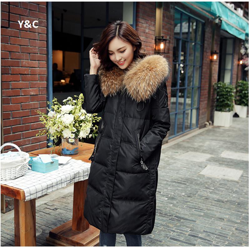 Women's fashion winter White Duck Down Jacket Women Parkas Plus size Raccoon fur collar long Over knee Thicken Slim Hooded Coats