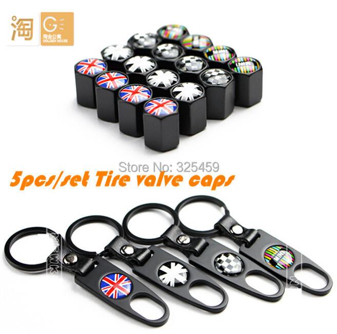 5pcs/set MINI cooper R55 R56 R60 R61 F55 F56 aluminum alloy tire valve caps with a key chain(China (Mainland))
