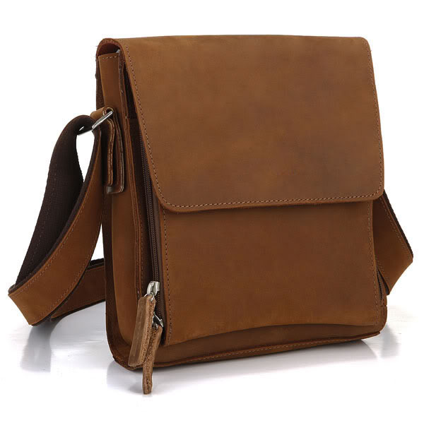 Фотография Maxdo High Quality Vintage Small Brown Genuine Leather Crazy Horse Leather Men Messenger Bags Cross Body Cowhide #M7055