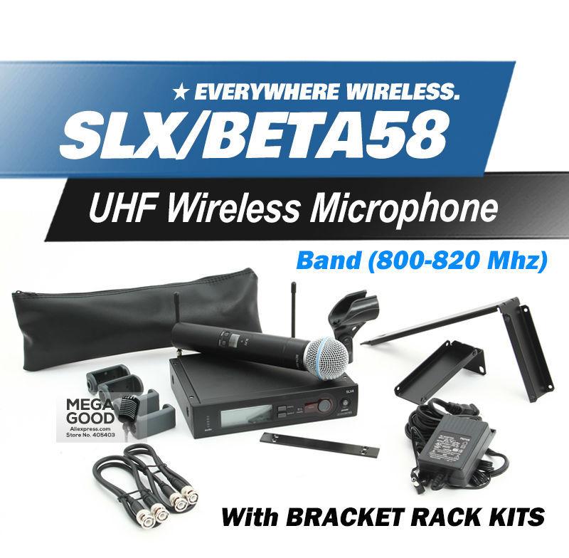 Free Shipping! UHF SLX24 BETA58 Handheld Karaoke Wireless Microphone System SLX with all rack kit accessories R5 Band 800-820Mhz(China (Mainland))