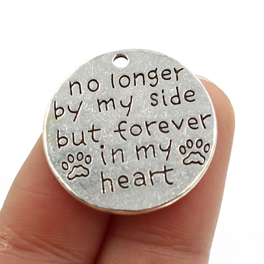 25mm Antique Silver Plating English Word no longer by my side bu forever in my heart Round Alloy Charm DIY<br><br>Aliexpress