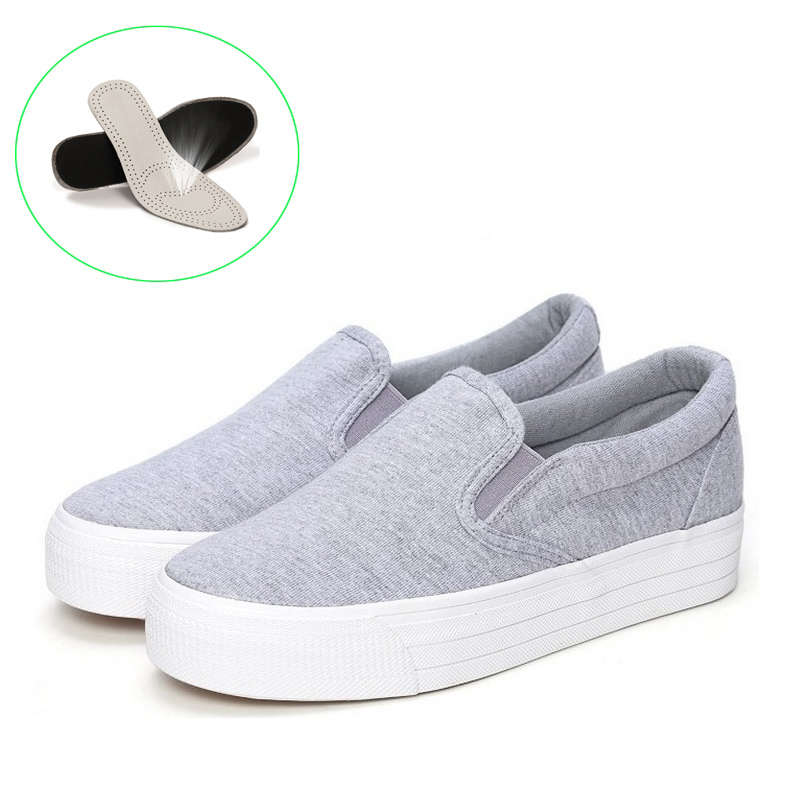 2015 New Genuine Leather Insole Ladies Canvas Shoes Sneakers Platform Canvas Shoe Slip On Casuals Solid Woman Leisure Shoe(China (Mainland))