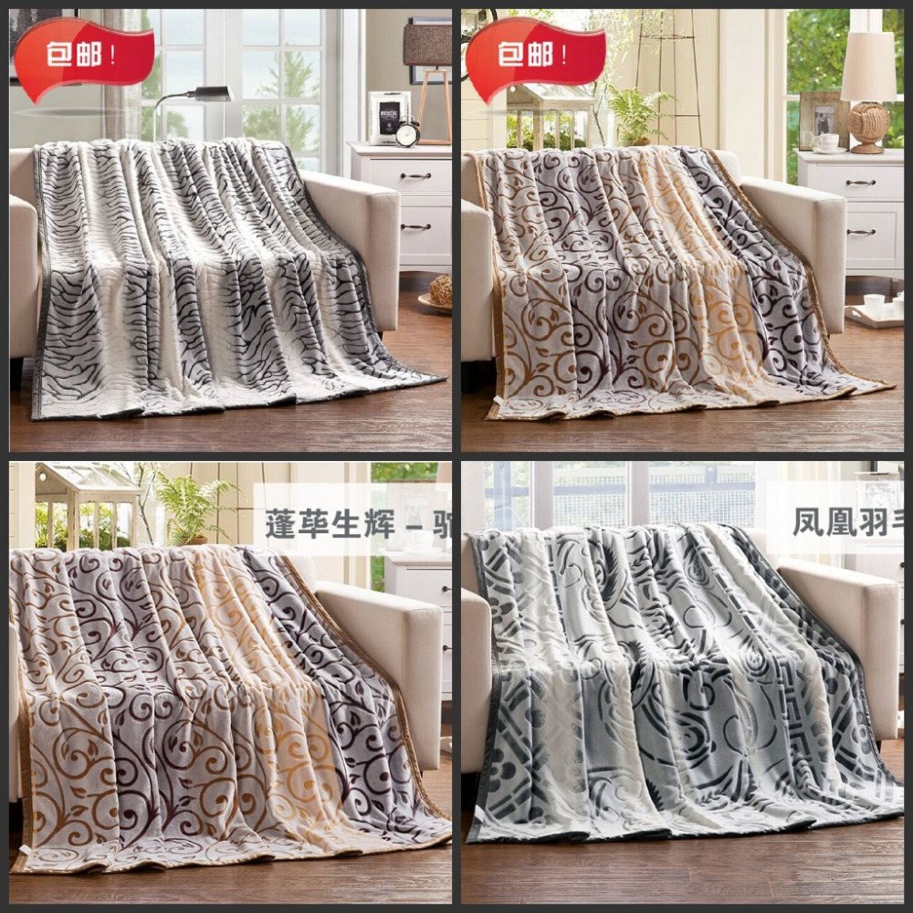 Heat! 180*200 cloud mink cashmere art carved coral fleece blanket thickened cashmere single cloud mink blanket bed.(China (Mainland))