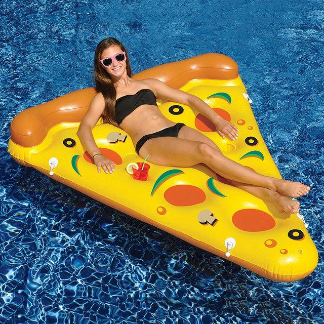 Новый стиль воды игрушки гигант желтый надувной кусок пиццы плавающей кровать / плот надувной матрас 180 * 150 см летние каникулы