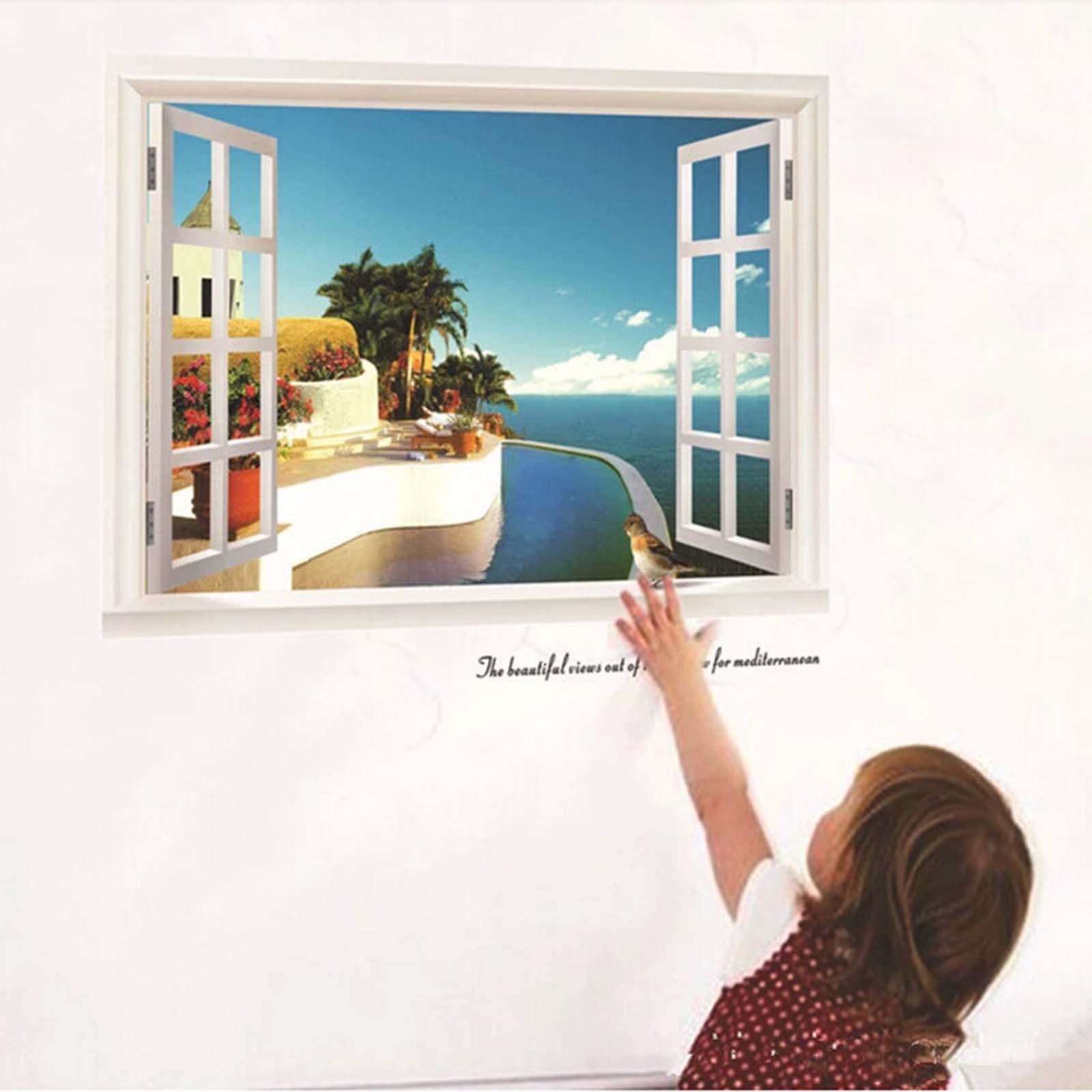 1x home decor removable mediterranean style window beach for Beach wall mural sticker