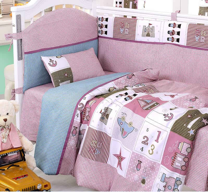 8 Pieces Set cameo brown train Baby Bedding Set Baby Nursery Cot Crib Bumper Quilt Fitted Sheet Dust Ruffle With Quilt(China (Mainland))