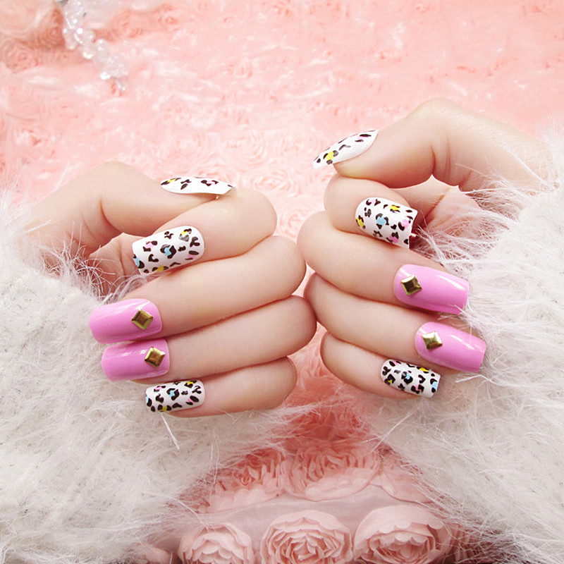2016 now long Design Fake Nails Mixed loading Nail tip Sexy Pink leopard grain girls party fashion choice - the best service,the last price,Direct Manufacturer store