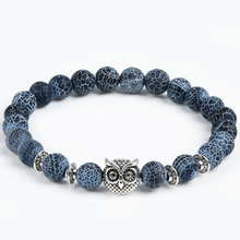2016 Leopard Tiger Eye Lion Head Bracelet Owl Buddha beads Bracelets Bangles Charm Natural Stone Bracelet yoga Jewelry Men Women(China (Mainland))