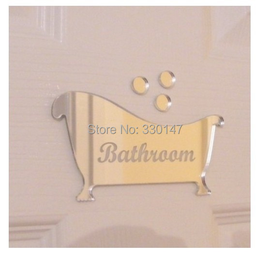 3 pcs Toilet Entrance Sign Acrylic Mirror Surface Door / Wall Sticker Shop Office Home Cafe Hotel Decoration FREE SHIPPING(China (Mainland))